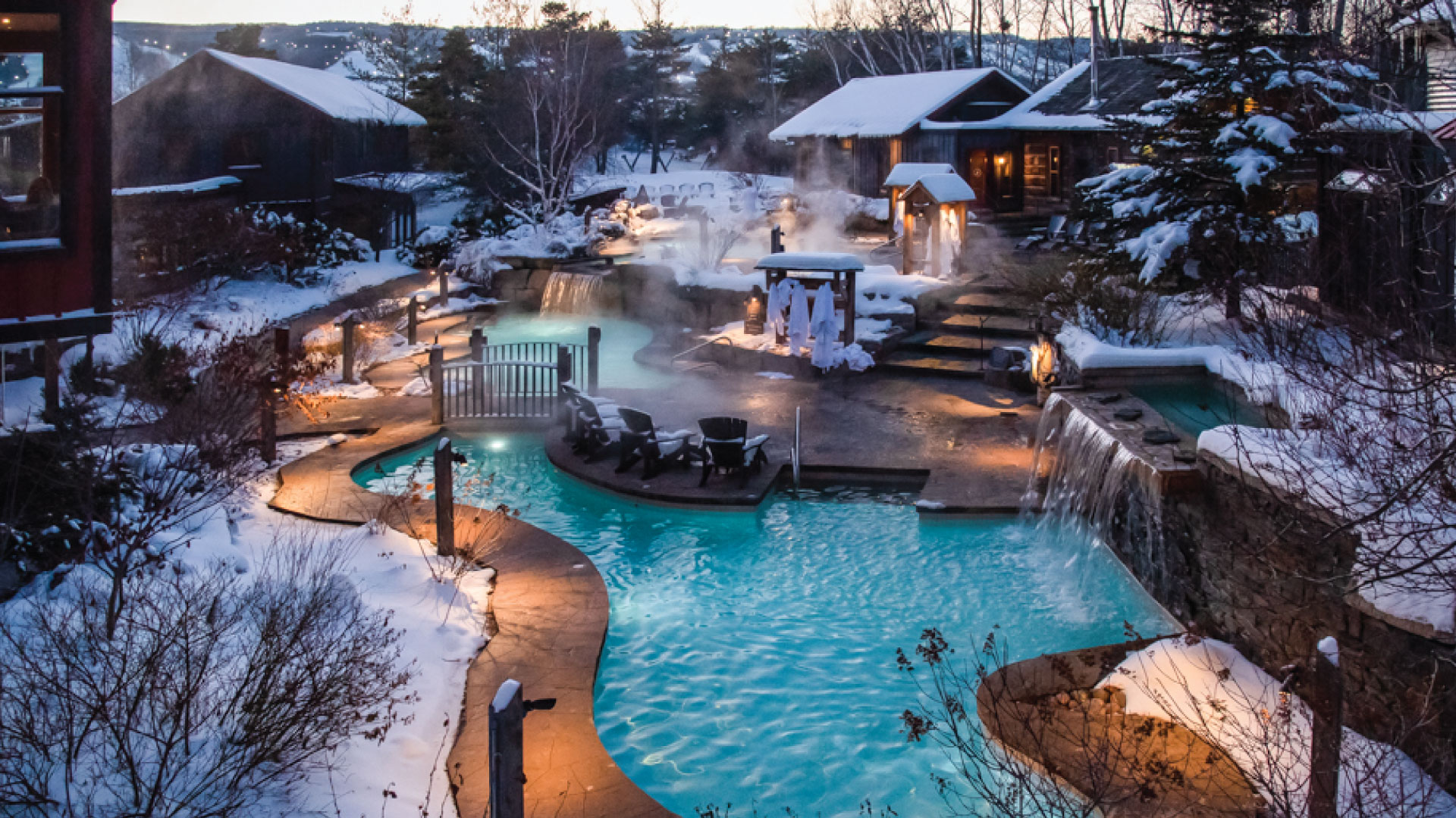 Evening at Scandinave Spa with the Blue Mountain Resort in the backgroun.