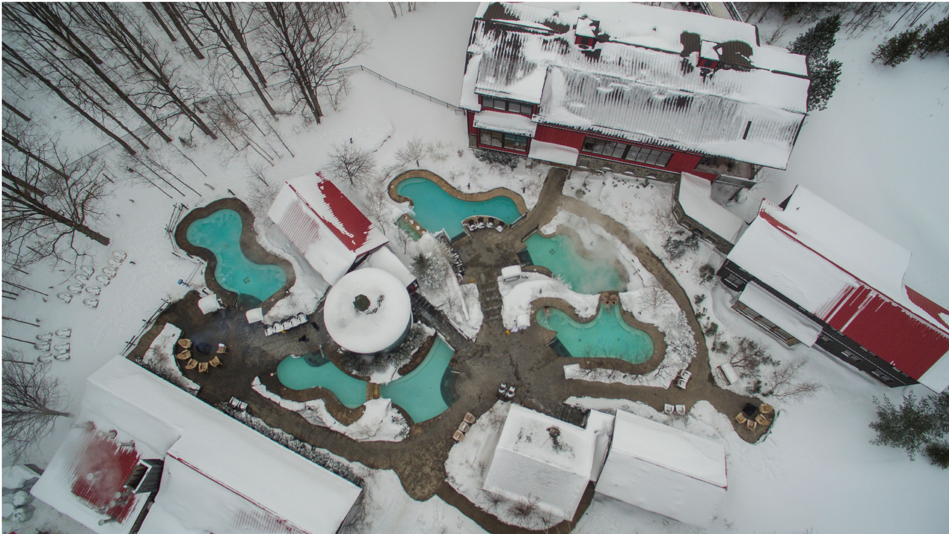 Overhead drone view of Scandinave Spa Blue Mountain in Winter
