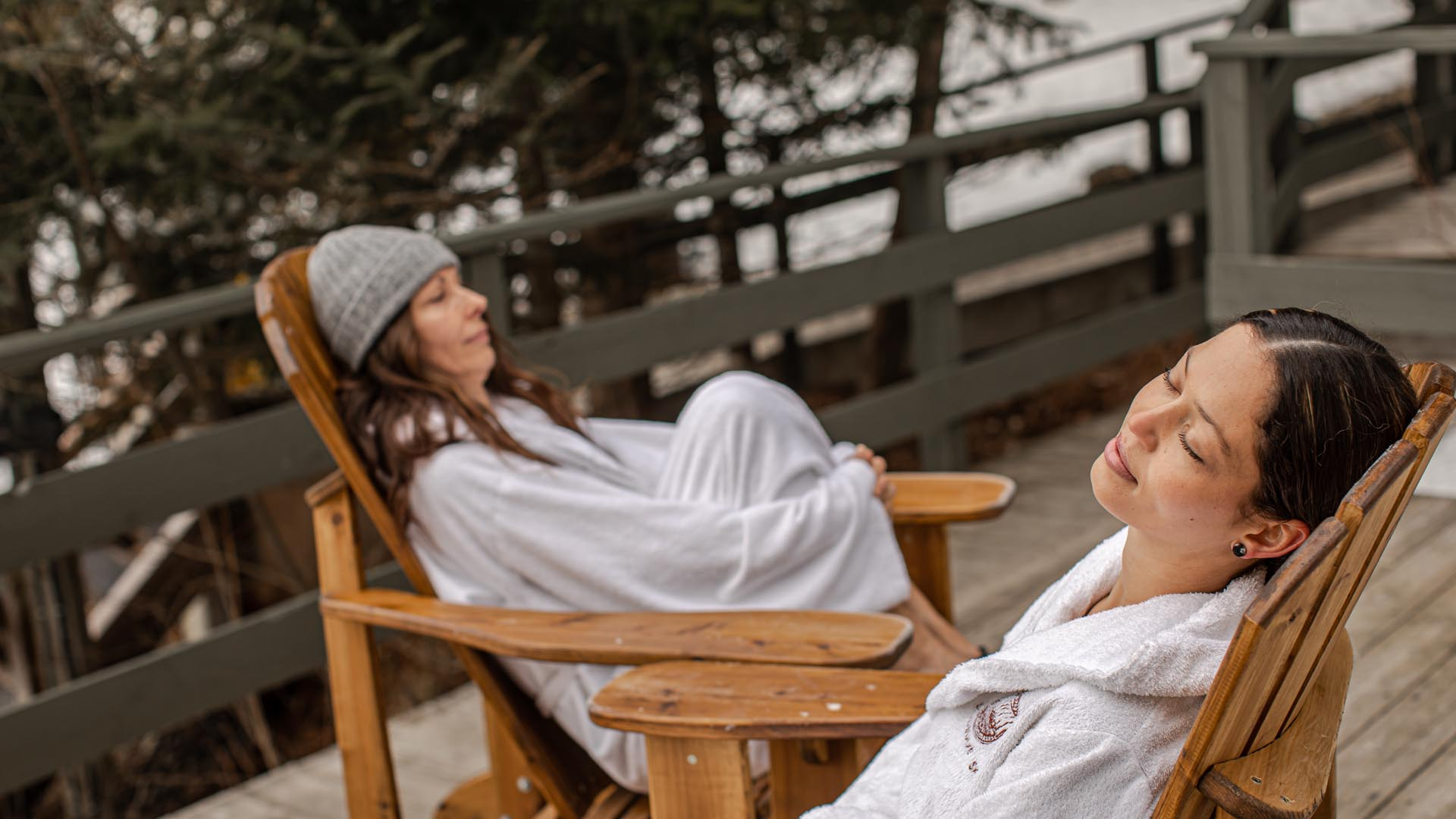 Two women relaxing at Scandinave Spa Mont-Tremblant.