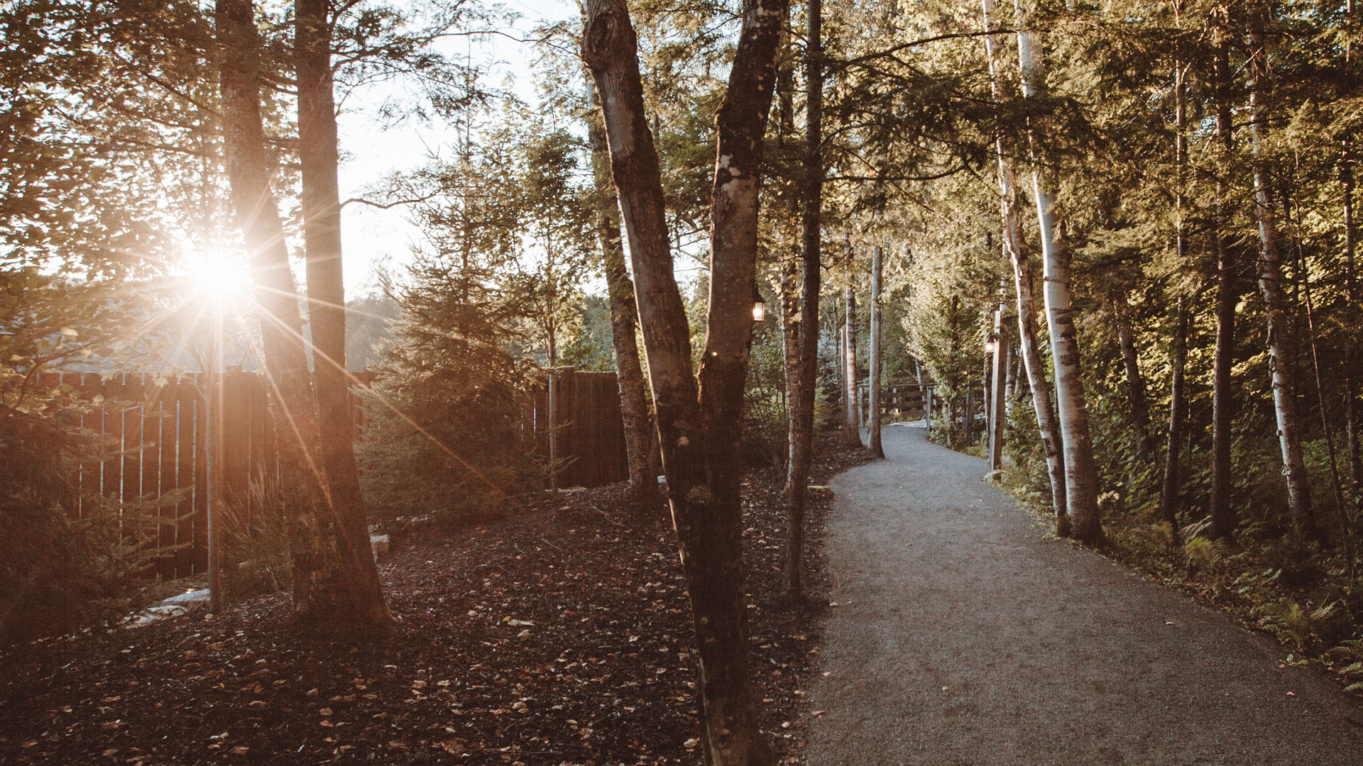 Golden hour at the Scandinave Spa Mont-Tremblant.
