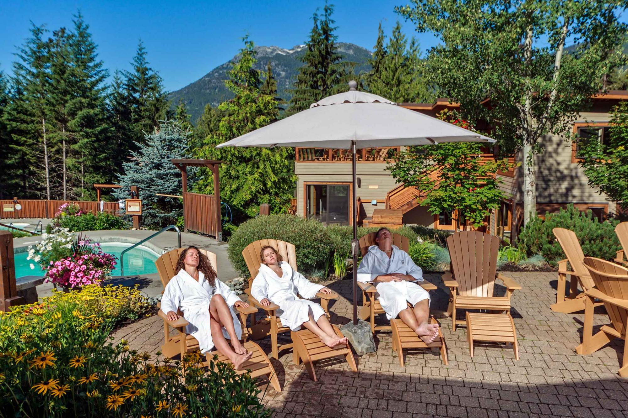 relaxing in summer at spa