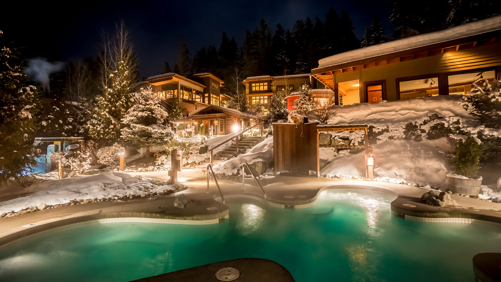 whistler spa site at night