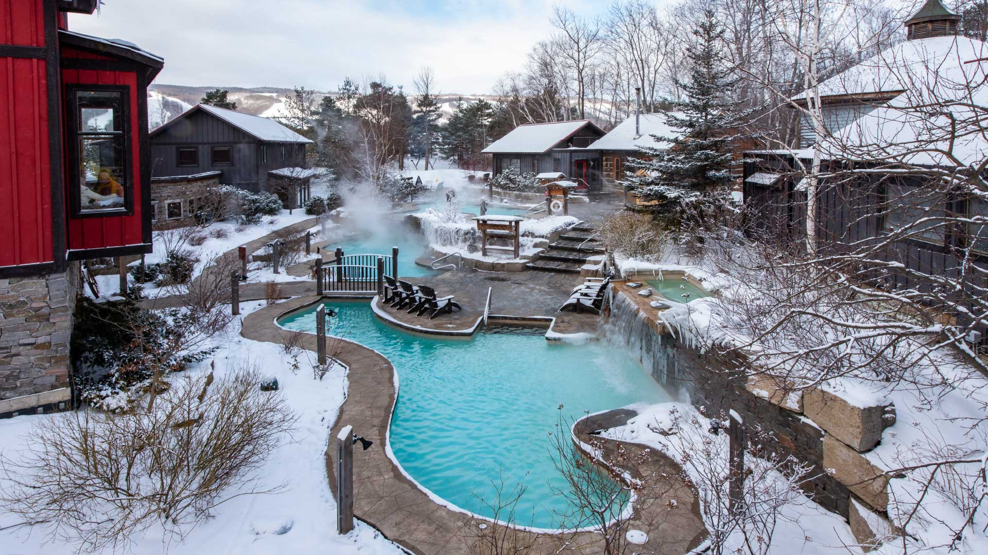 Winter at the Scandinave Spa overlooking the Outdoor Baths area.