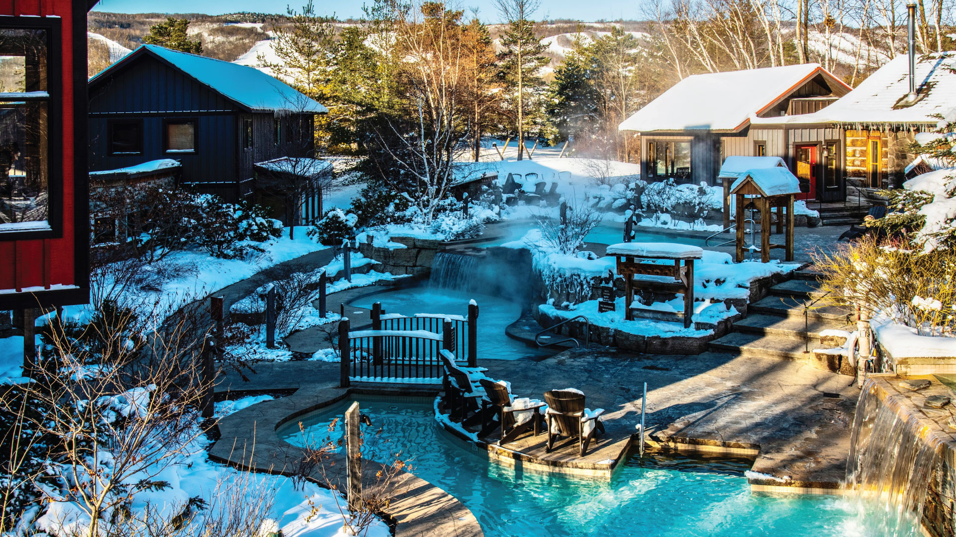 Sunny Winter day overlooking the Baths and Blue Mountain at Scandinave Spa