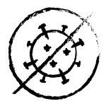 Icon of virus symbol with an 'X' through it to accompany text to explain expectations about health & prevention.