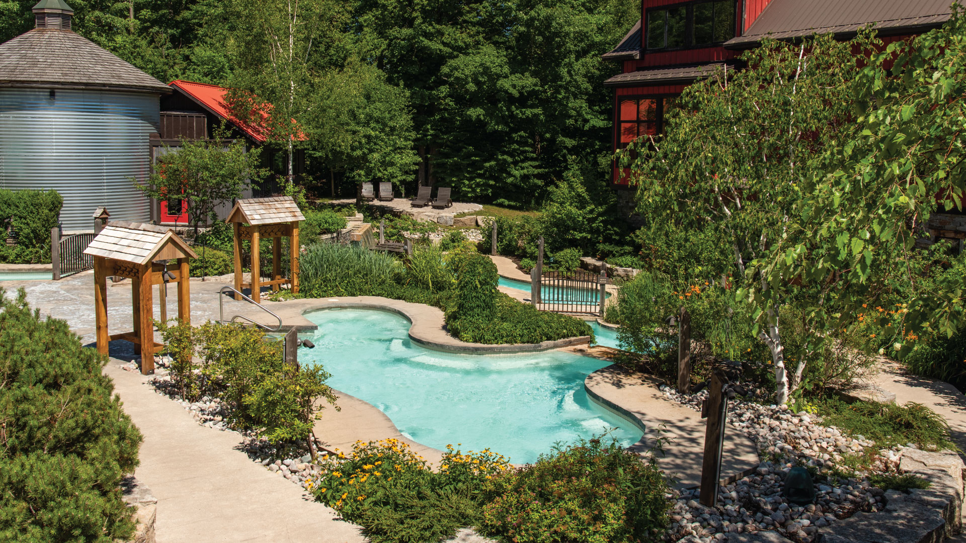 A sunny summer day overlooking the Baths at Scandinave Spa Blue Mountain.