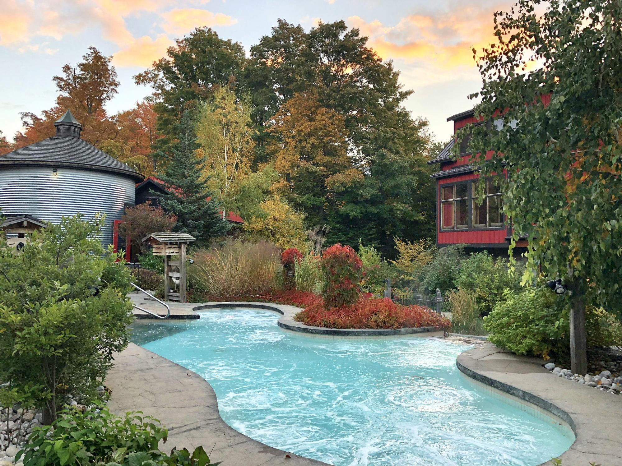 Fall overview of the Baths at Scandinave Spa Blue Mountain
